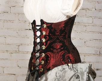 Waist 28-30 Red and Black Medallion Wench Corset
