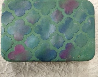 Tie-Dyed Elements Polymer Clay Covered Tin