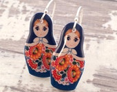 Turquoise Russian Doll Shrink Plastic Dangle Earrings
