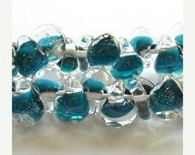 35% OFF SALE 10mm Unicorne Tear Drop Lampwork Beads - Dark Aqua - 4 Pieces - 21214