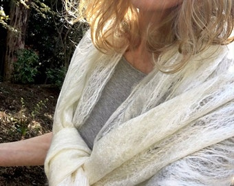 Cream-White Lacy Scarf-Shawl ultra-light felted longfiber wool and silk