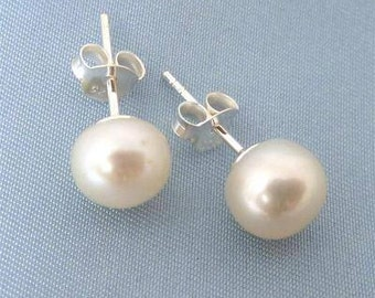 Delicate freshwater pearl stud earrings.  Wedding jewellery.  Everyday pearl jewellery. Bridesmaids gift.