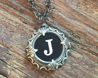 Letter J Typewriter Necklace Jewelry Keepsake for Bridesmaid, Teacher, Writer Gift