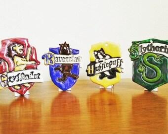 FULL COLOR Harry Potter Hogwarts House Crest Ceramic Ornament Medallion Fandom Art SET, Gryffindor, Hufflepuff, Slytherin, Ravenclaw
