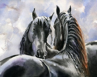 Friesian Horse art Morgan Warmblood Yearling Print of a watercolor Painting Big Large Huge Girls Teens Horse Lover Unique Gift