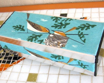 Upcycled Vintage Mid-Centuy Bird Jewelry Music Box