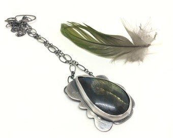 Cloud necklace statement necklace labradorite necklace stormy cloud necklace silver necklace