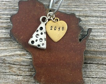 WISCONSIN | Rustic 2016 Christmas Ornament | Cheese, Tractor, Snowflake Charms, Handstamped Brass Tag