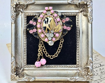 Linda Vintage Collage Brooch Pin Pink Leopard Rhinestone chain