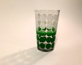Green Polka Dot Tumbler ~ Green Polka Dot Drinking Glass ~ Polka Dot Tumbler ~ Polka Dot Water Glass