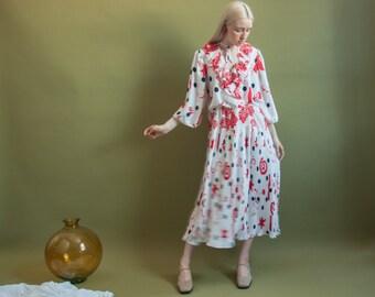 white red print midi tea dress / ruffle collar dress / gypsy dress / s / m / 1921d / B13