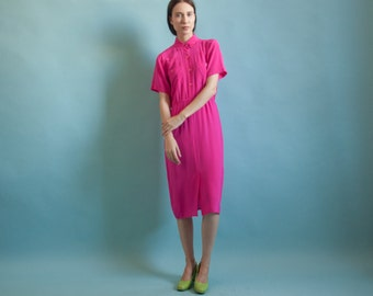 hot pink silk shirt dress / midi shirt dress / s / 2049d / B13