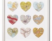 Nine personalised vintage map hearts - wedding gift - anniversary gift - engagement gift - traveller's gift - gift for wife or husband
