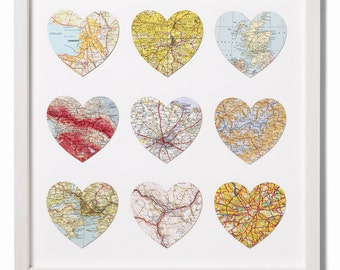 Nine personalised vintage map hearts - wedding gift - anniversary gift - engagement gift - gift for wife or husband
