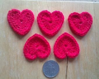 10s of 1.5 inch Red Crochet Heart Motifs - sparkly yarn - cardmaking / scrapbooking / applique