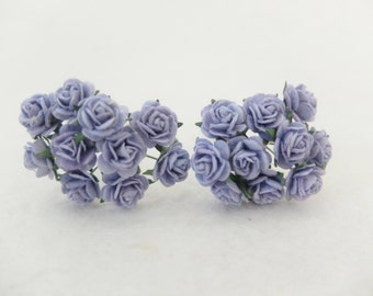 20 10mm lavender paper roses with wire stems - purple paper flowers - 1cm paper roses