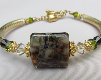 Mocha lampwork Bangle Bracelet
