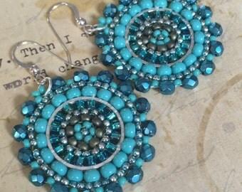Small Earrings - Aquamarine and Turquoise Seed Beaded Earrings - Multicolored Disc Earrings