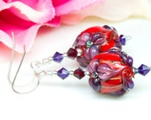 Elegant Flower Earrings - Lampwork Glass Beads, Sterling Silver and Swarovski Crystal by Clare Scott SRA Jewellery