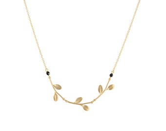 Gold branches and swarovski necklace