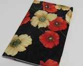 SAMPLE SALE - Checkbook Cheque Cover Case Money Coupon Holder - Red and White Poppies on Black Fabric