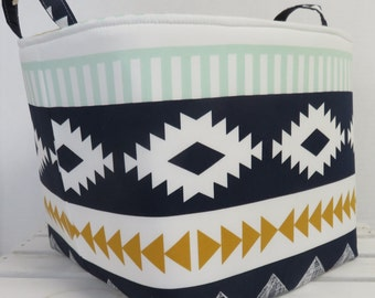 Fabric Organizer Bin Toy Storage Container Basket - Arid Horizon Fabric - Arizona Collection by April Rhodes - 10 in x 10 in x 10 in tall