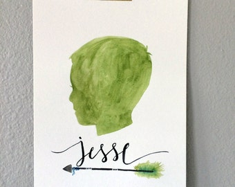 Custom Silhouette Painting - Arrow with Name