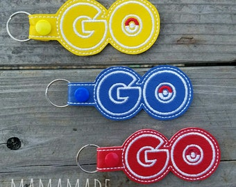 Embroidered Key Chain - Go - Gotta Catch Em All - Pick your team