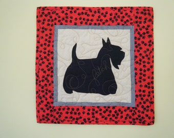 SALE-- SCOTTY  - Quilted Mini Dog Wall Hanging 15 X 15