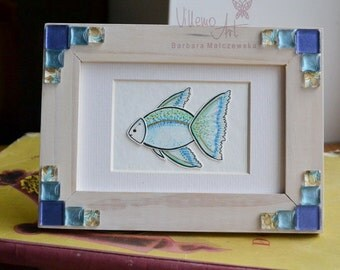 Shadowbox Frame - Blue Fish - framed hand drawn home decor