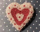 Primitive Valentine Needle Punch Heart Pin Pink Stripe