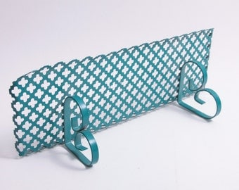 Cool 1960's Turquoise Blue Metal Shelf With Shapes Cut in them Vintage  ~ Pink Room ~ 161224