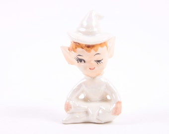 Vintage Cute Ceramic White Pearly Elf 1960s Pixies ~ The Pink Room ~ 170112