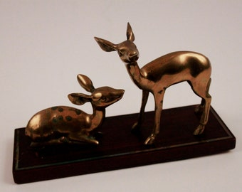 Solid Brass Deer on Wooden Pedistal - Paper Weight - Desk Set - Forest Asthetic ~ The Pink Room ~ 161007