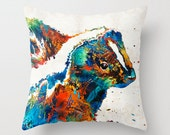 Throw Pillow Colorful Skunk Art Design Home Sofa Bed Chair Couch Decor Fun Stinky Happy Artsy Room Bedroom Zoo Nursery Cute Animal
