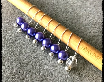 Snag Free Stitch Markers Medium Set of 8 -- Purple Glass Pearls -- M92 -- For up to size US 11 (8mm) Knitting Needles