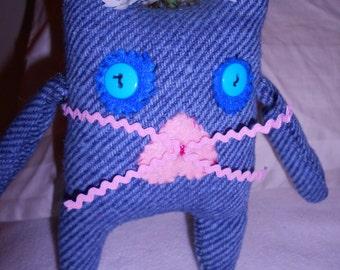 Bunny rabbit softie stuffed animal recycled upcycled wool tweed felt flower toy primitive folk art