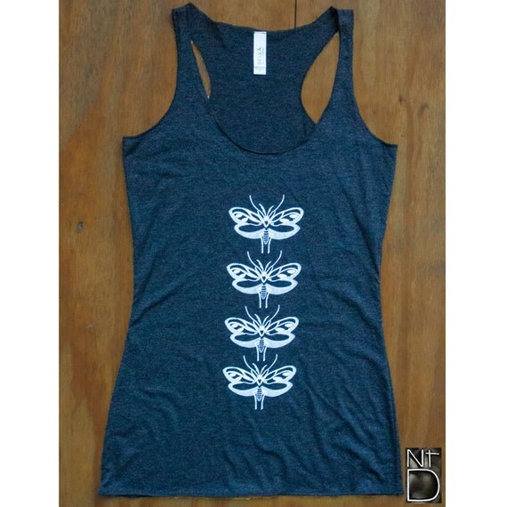 Moth Women's Racerback Tank Top Screen Printed Shirt Top