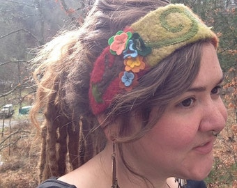 Autumnal Tree Felted Wool Headband