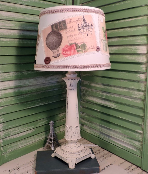 Shabby French Country Postcard Table Lamp Distressed Vintage