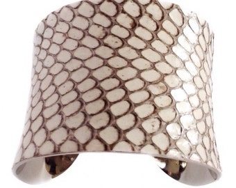Glossy Ivory Genuine Snakeskin Cuff Bracelet - by UNEARTHED