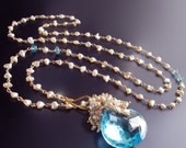ON SALE 15% OFF Custom Made to Order - 14k Swiss Blue Topaz and Japanese Saltwater Keishi Pearl Necklace