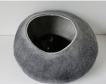 ON SALE till 30.09 Cat Nap Cocoon / Cave / Bed / House / Vessel - Hand Felted Wool - Crisp Contemporary Design - Dark Grey Bubble