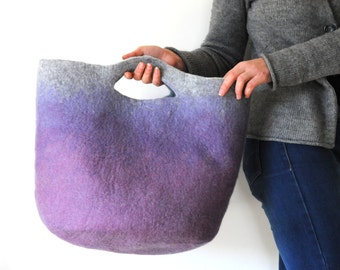 MEDIUM SIZED Sturdy Everyday Lilac Blue Art Bag / Carryall / Tote / Basket / Shopping / Market / Picnic / Hand felted wool / Wearable Art