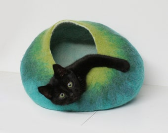 Cat Cave Bed House Vessel Furniture Cocoon - Hand Felted Wool - Teal Green Bubble Crisp Contemporary Modern Minimal Design READY TO SHIP