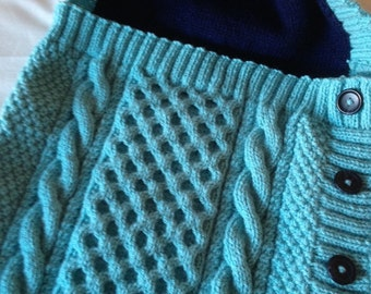 KNIT BABY COCOON/Cosy Baby Cocoon/ Baby Snuggle Sack/ Baby All in One/ Baby Sleepsuit in Peppermint Blue- Ready to Ship