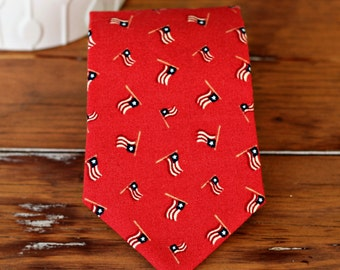 Boys red flag necktie - American flag boy's necktie, toddler necktie, baby boy necktie, Fourth of July necktie, summer wedding tie, gift