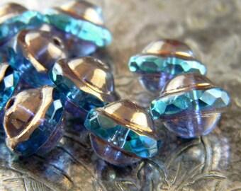 Mystic Dragonfly (10) -Czech Glass Saucers 10x8mm