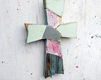 Blue Mosaic Cross, Reclaimed Wood Cross, Christian Decor, Distressed Cross, Religious Wall Art, Wooden Wall Cross Rustic Cross Wood Wall Art