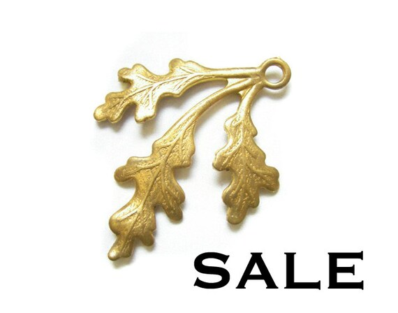 Raw Brass Leaf Charms - Left Facing (6X) (V173) SALE - 25% off